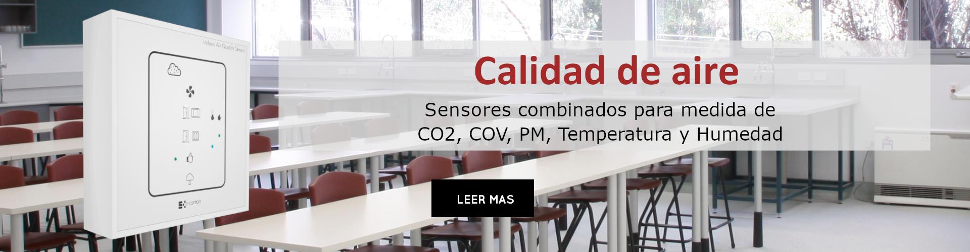 calidad de aire sensores combinados para medida de  CO2, COV, PM, Temperatura y Humedad